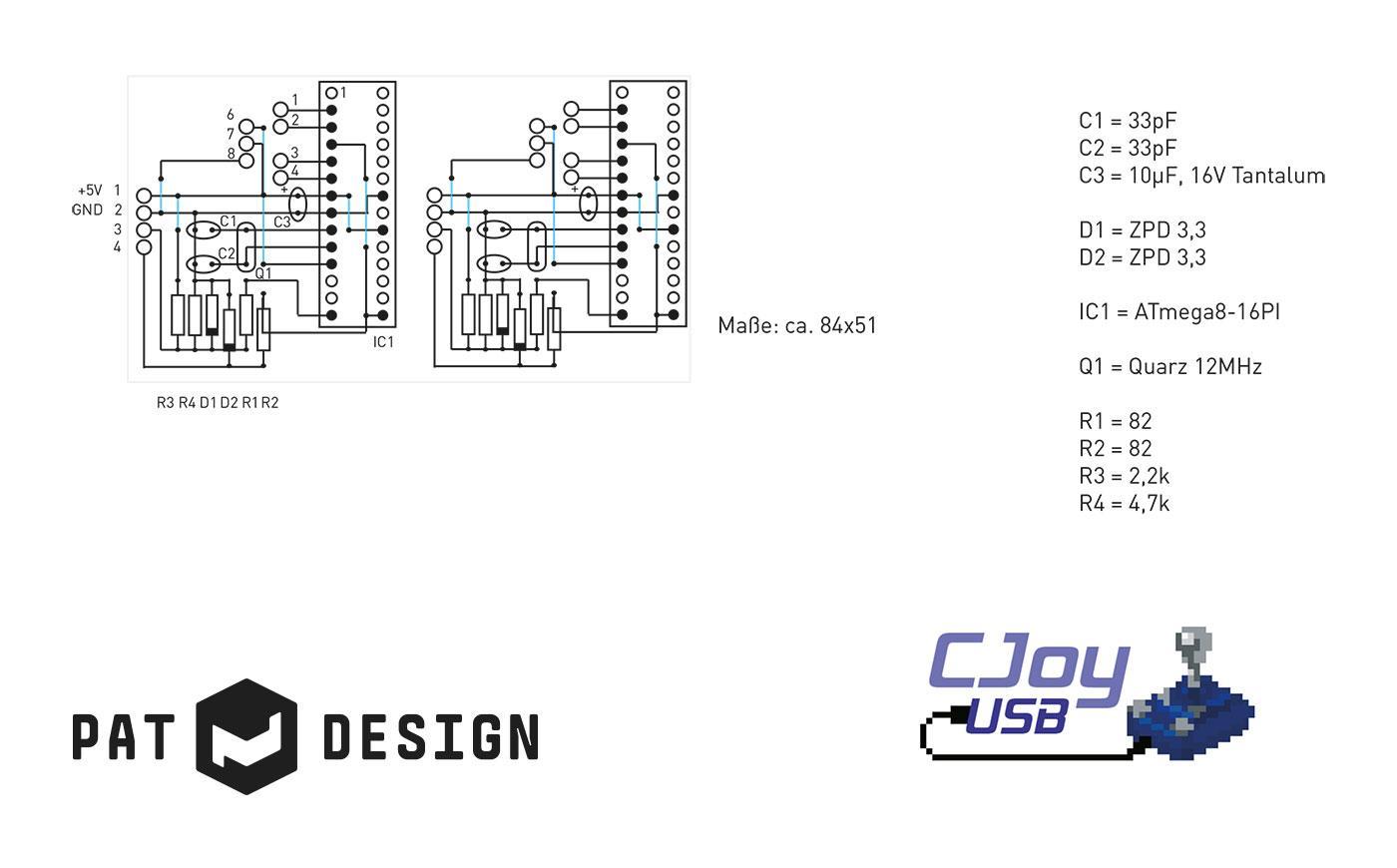 CJoy64 USB-Adapter, Bauplan