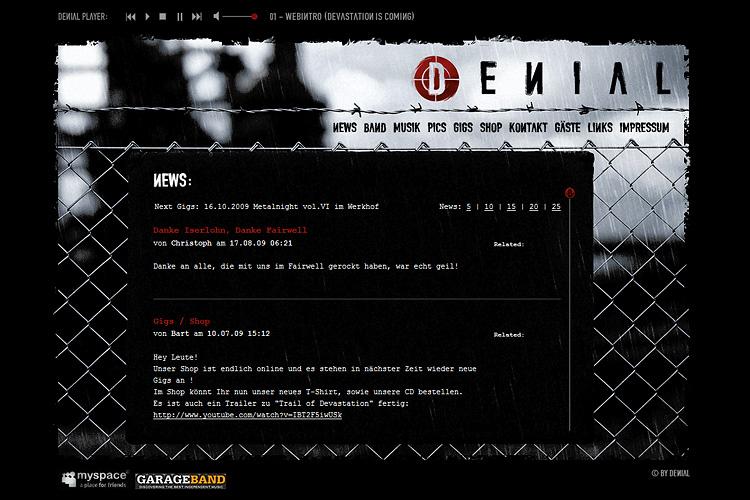 DENIAL, Website
