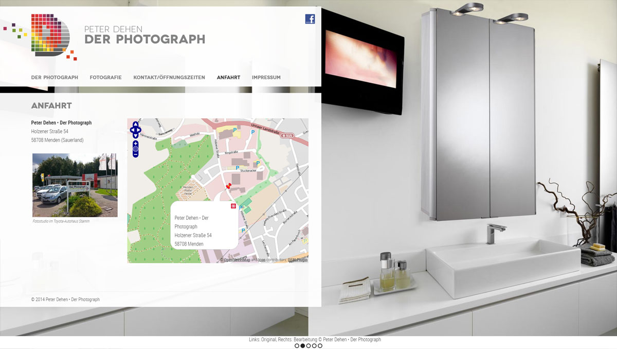 Peter Dehen - Der Photograph, Website (Bereich Anfahrt mit interaktiver Übersichtskarte)