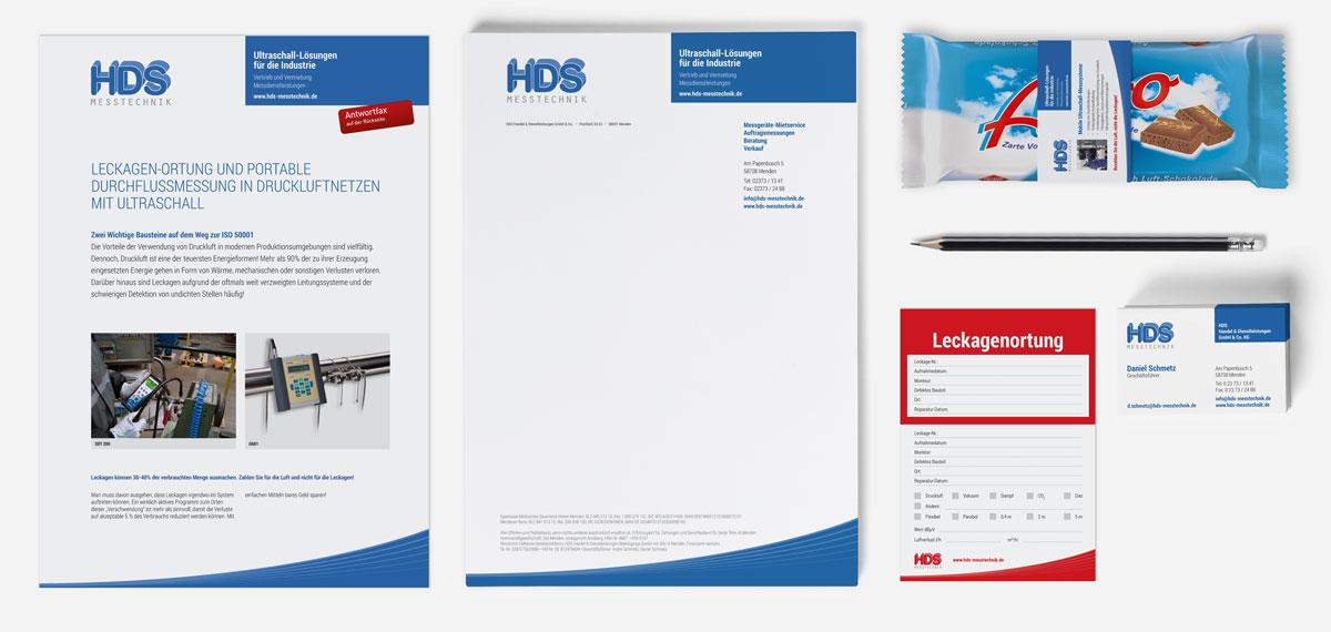HDS Messtechnik, Geschäftspapiere, Flyer, etc.