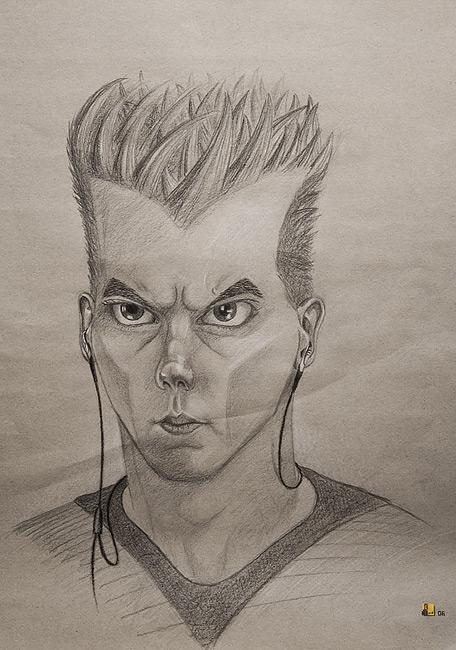 Selbstportrait, Karikatur, Polychromos